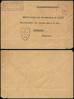 Germany WWII 1944 - POW Confidence Man Cover Satalg XX B to Belgium - Censor