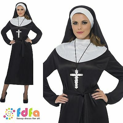 SISTER ACT RELIGIOUS HABIT NUN ADULT UK 8-18 womens ladies fancy dress costume