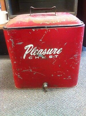 Vintage Red Metal Pleasure Chest Cooler Ice Chest w/Bottle Opener & Drain Plug