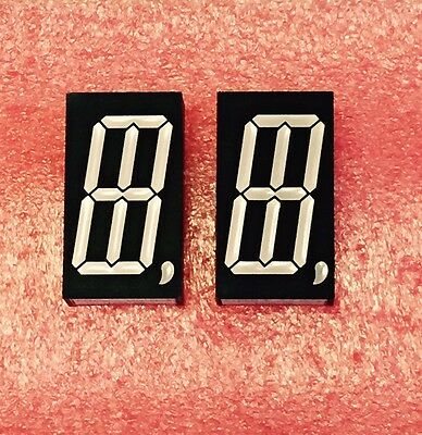 """7 Segment (Plus 2) LED 1"""" inch 25mm Single Display Red Common Anode CA 9, Qty 2"""