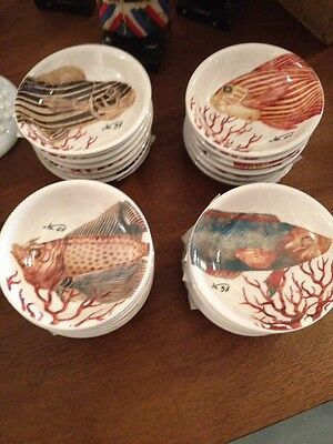 Set Of 4 Ceramic Fish Bowls Coral Detail And Numbers