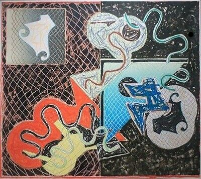 Frank Stella Signed/N Silkscreen Lithograph Mixed Media WHITNEY MUSEUM Label Art