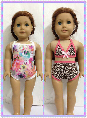 "American girl's love 3pc Doll Clothes Swimsuit bath suit fits 18"" doll handmade"