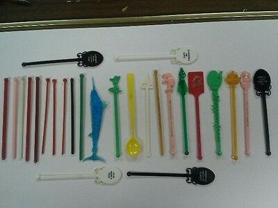 Vintage early 1950s and some 1960s lot of 25 Cocktail stirrers
