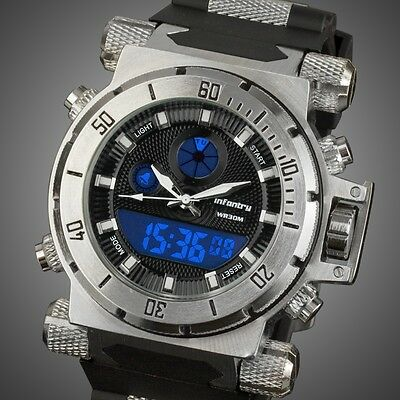 INFANTRY Mens Digital LCD Analog Alarm Chronograph Army Sport Diver Wrist Watch