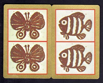 Vintage Swap/Playing Cards - Butterfly & Fish Pair (Gold Borders)