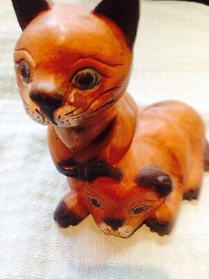 "Love cats? Hand Carved & Painted Wood sculpture Pair Siamese kittens 6""H x 5""L"