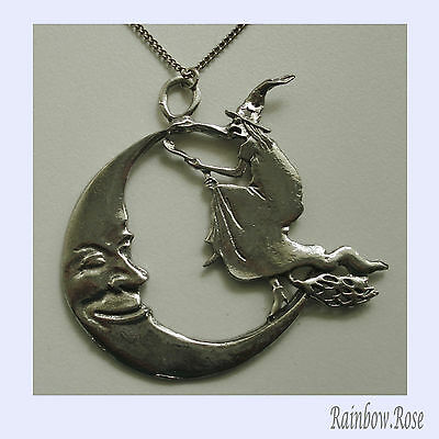 Chain Necklace #401 Pewter Witch on Broom near Moon ( 67mm x 64mm) HUGE