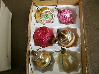 Vintage group of glass Christmas ornaments from 1980's or earlier