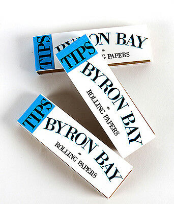 Byron Bay Rolling Papers  Unbleached filter tips 3 pack