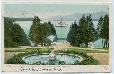 Fort William Henry Hotel Piazza Lake George New York 1907 postcard
