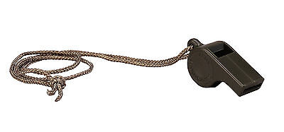 GI Style Olive Drab Police Whistle - Includes Lanyard - OD Plastic & Cork Pea