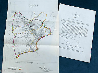 DOVER - Large Original Antique Map / Plan, Boundary Commissioners Report - 1868