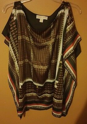 Michael kors brown multi color blouse size L/XL
