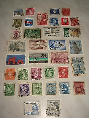 CANADA set of 35 used stamps - off paper all different