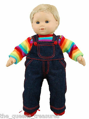 DOLL CLOTHES FOR AMERICAN GIRL BITTY BABY The Queen's Treasures Rainbow Overalls