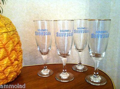Rare Vintage Retro Kitsch Collectable 1960's Goldwell Snowball Glasses x 4 set