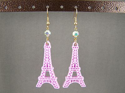 "Lt Purple La Tour Eiffel Tower dangle 2.75"" long earrings Paris France travel"