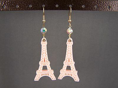 "Peach La Tour Eiffel Tower dangle 2.75"" long earrings Paris France travel"