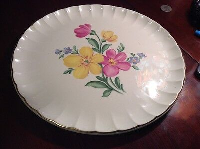 "Nasco Golden Floral 10"" Decoratice Plate With 22Kt Gold"