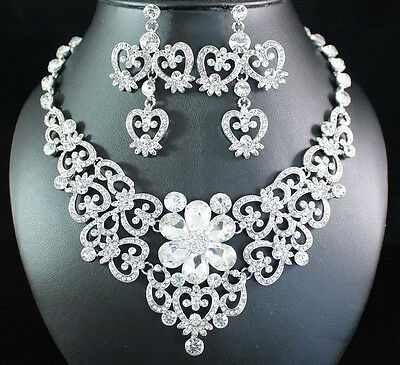VICTORIAN CLEAR AUSTRIAN RHINESTONE CRYSTAL BIB NECKLACE EARRINGS SET N1617C