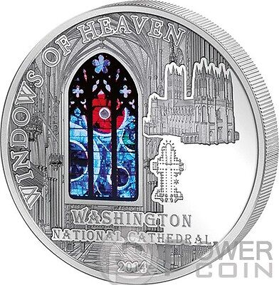 WINDOWS OF HEAVEN WASHINGTON CATHEDRAL Lunar Rock Silver Coin Cook Islands 2014