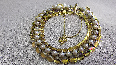 Beautiful 18k Gold Estate Pearl Bracelet 7-1/2 inches with Evaluation Paper