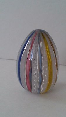 Vintage Egg-shaped Murano White Latticino Colorful Glass Paperweight - Easter?
