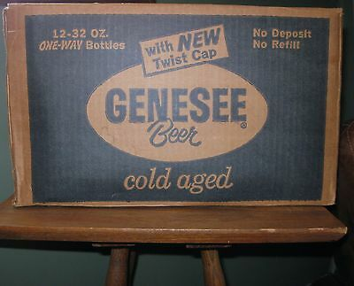 VINTAGE GENESEE BREWING CO.  BEER BOTTLE CARDBOARD AD CASE CRATE ROCHESTER NY