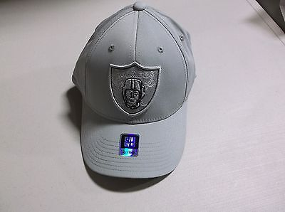 NFL Oakland Raiders Reebok Hat Cap End Zone Flex Fitted Gray Secondary