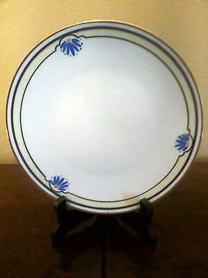 "7"" Salad Plate Blue Daisy Gold Trim J & C Bavaria Hand Painted ""LOT OF 6 PLATES"""