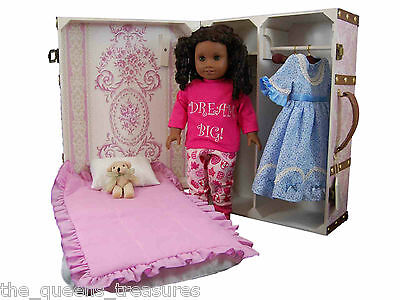 """TRUNK SUITCASE W/ BED,BEDDING,  For 18"""" American Girl Doll Clothes FACTORY 2ND"""