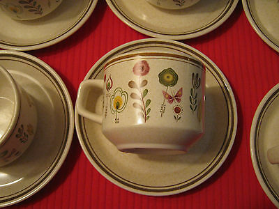 "LENOX TEMPER-WARE ""Sprite"" - Set of (6) Cups and Saucers Beige"