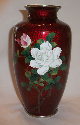 Signed Japanese Sato Cloisonne Pigeon Blood Vase With Roses & Bamboo