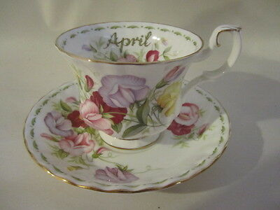 Royal Albert Teacup & Saucer Flower of the Month April Sweet Pea