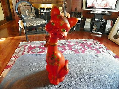 Vintage Italian Tall Mid Century Hand Painted Porcelain Cat Art Deco Style!