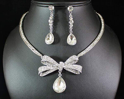 BOW CLEAR AUSTRIAN RHINESTONE CRYSTAL NECKLACE EARRINGS SET BRIDAL PROM N1573