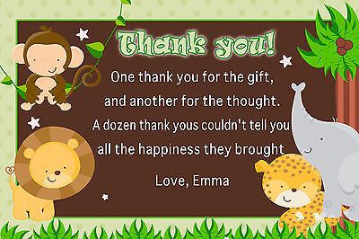 30 Jungle Thank You Card Notes Baby Boy Shower Birthday Party Personalized