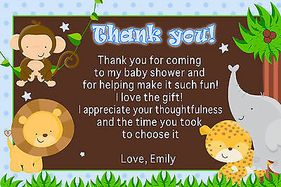 30 Personalized Jungle Safari Thank You Cards Notes Blue Birthday Baby Shower