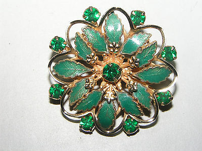 VINTAGE GOLD TONE GREEN ENAMEL WITH GREEN EMERALD CRYSTAL  PIN BROOCH