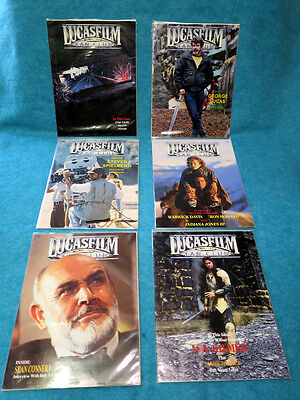 LOT OF (6) VINTAGE 1988/1989 LUCASFILM FAN CLUB MAGAZINES. #2,3,4,6,8,9!