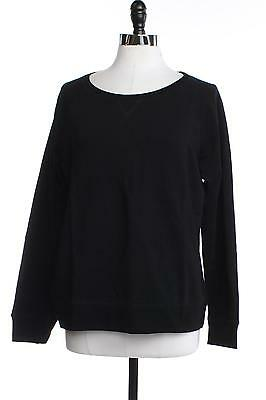 STYLE & CO. Womens M Stretch Shirt Top Pull Over Solid Black Long Sleeve Tee