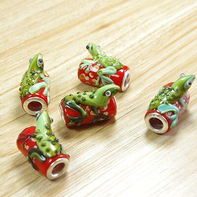 5pc Red Frog Lampwork glass bead Fits Charm Bracelet
