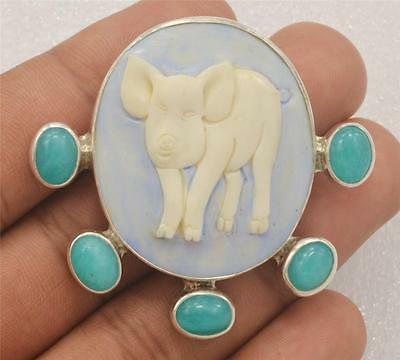 Hand Carved Lovely Pig Natural Buffalo Bone Amazonite 925 Silver Pin Pendant