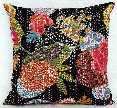 """16"""" INDIAN CUSHION PILLOW COVERS Kantha Thread Work Ethnic Vintage Traditional"""