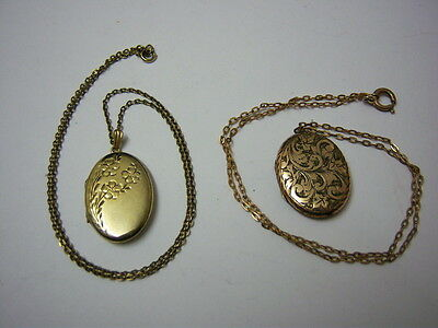 2 Attractive Lockets 1979 Gold Plated Sterling Silver & Gold Plated with Chains
