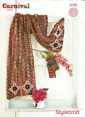 Stylecraft Carnival Chunky, Ladies Scarf,long Shawl And Mittens Crochet Pattern
