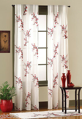 2 Panels Asian Cherry Blossom Curtain IN HAND Red White 42x84 each Floral Set