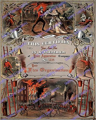 CUSTOMIZABLE CURRIER & IVES FIREMAN LITHO CERTIFICATE AWARD POSTER #5 - 16x20