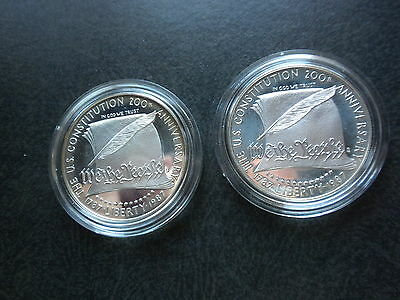 2-1987 United States Constitution Silver Dollar Proof Coins Boxes-COA`S